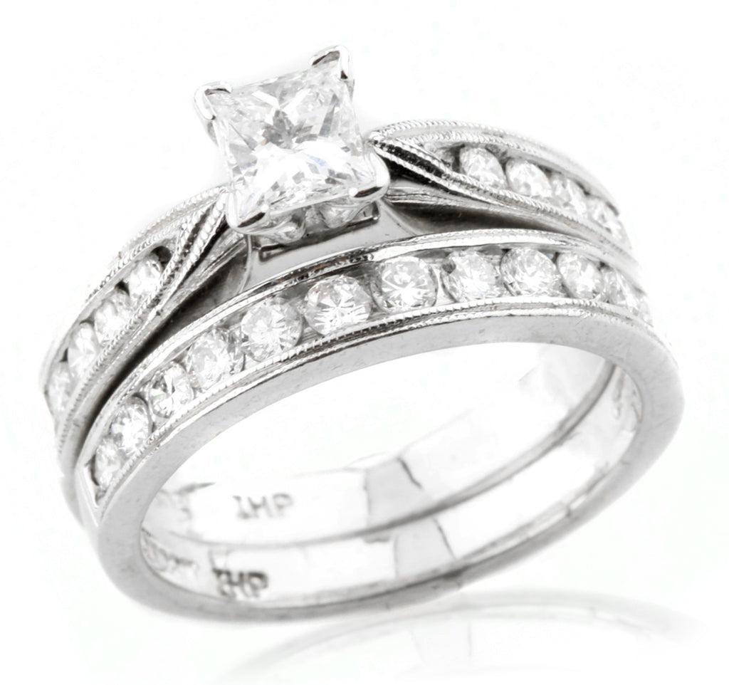 Platinum Women's 0.56 Ct Princess Cut Wedding Set with Round Accent Stones Sz 6
