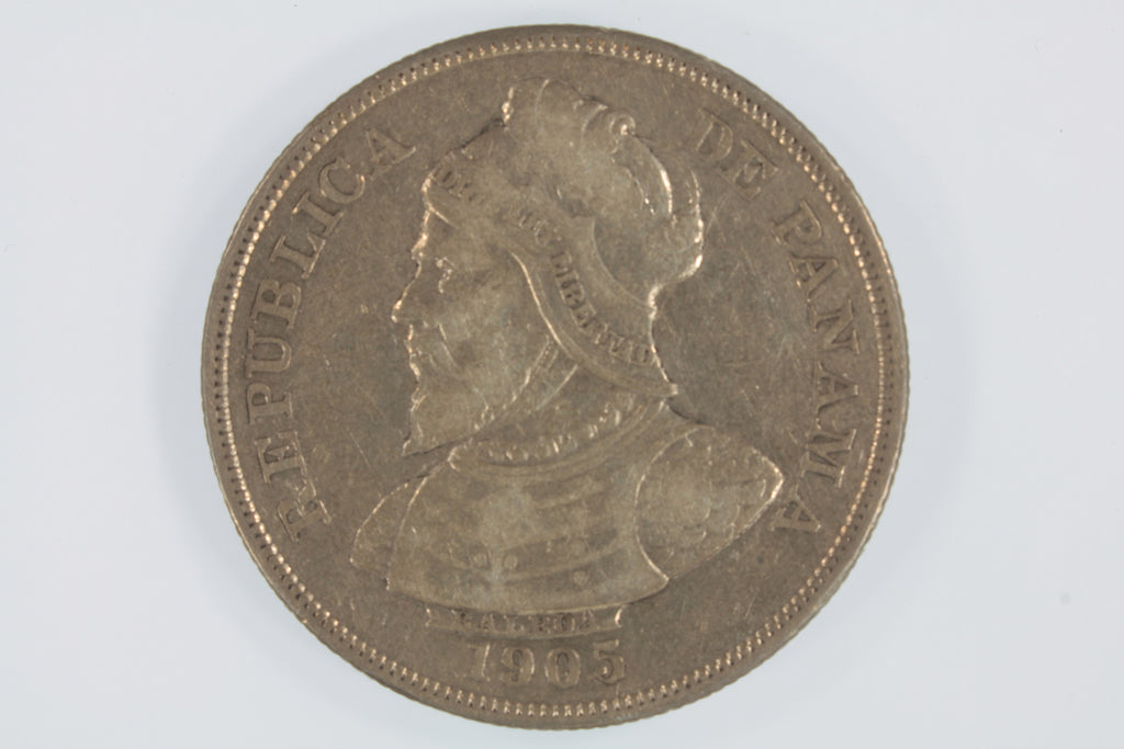 1905 Panama 50 Centesimos Silver Coin (XF Condition) KM# 5