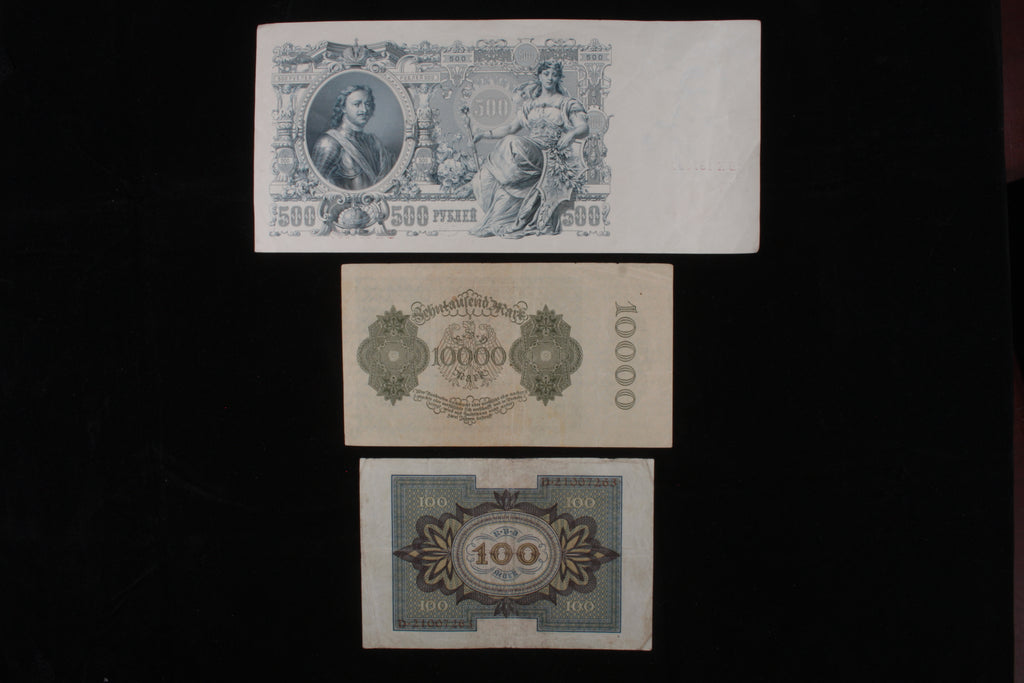 Russia & Germany Misc 3-Notes Currency Lot // Imperial Russia & Weimar Republic