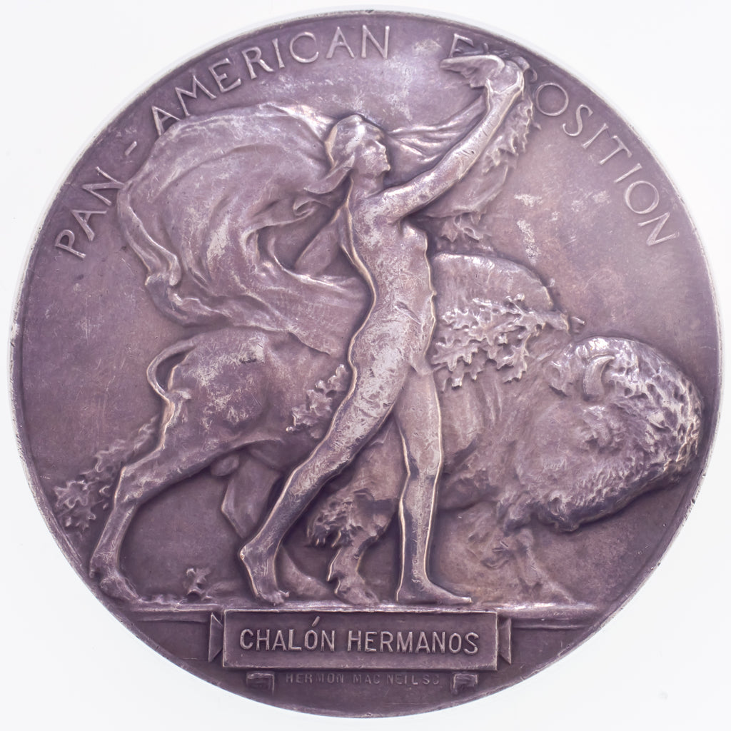 1901 NY Pan-Am Expo-Buffalo Silver Medal L-TM103 64 mm Graded by NGC as MS-61