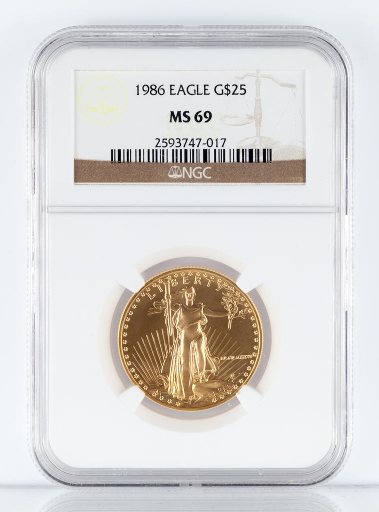 1986 Gold 1/2 Oz. American Eagle G$25 Graded by NGC as MS-69