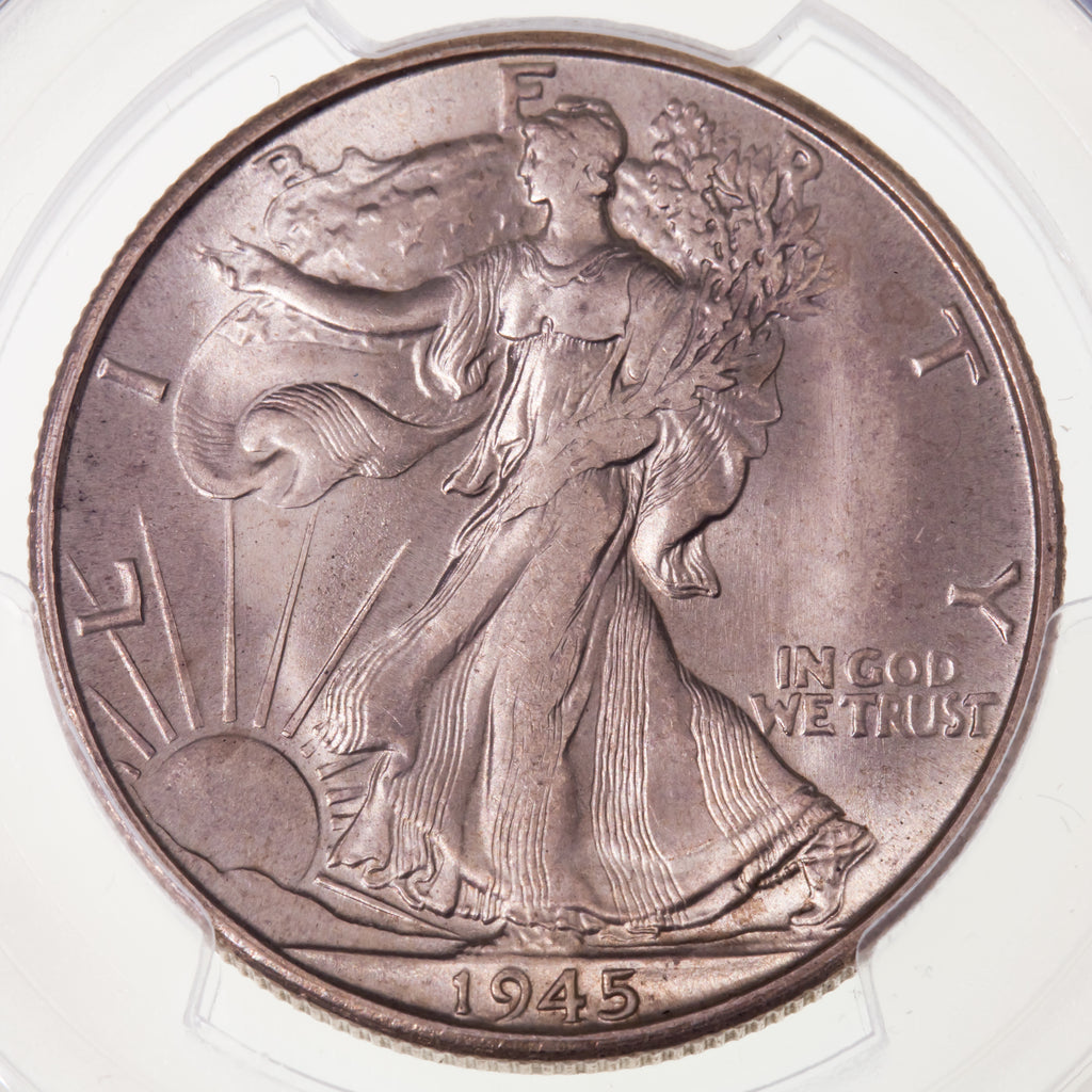 945-S 50C Walking Liberty Half Dollar Graded by PCGS as MS66