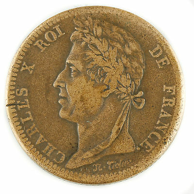 1828-A French Colonies 10 Centime (Very Fine, VF) Charles X Paris Mint KM#11.1