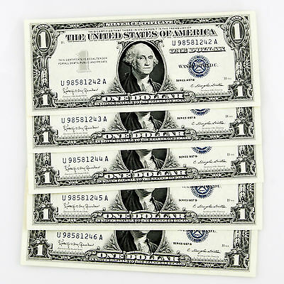 1957 B $1 SILVER CERTIFICATE 5 CONSECUTIVE NOTES U98581242A-U98581246A