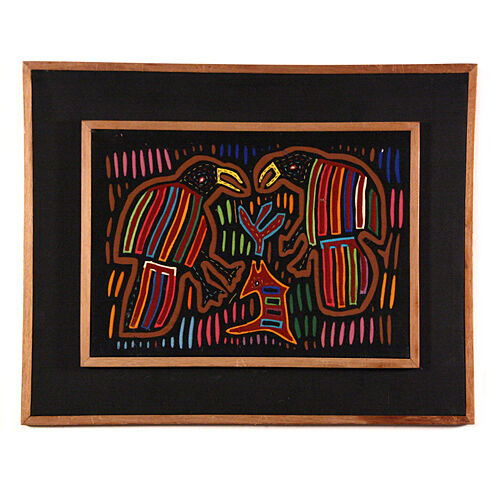"Indian Framed Multicolor Hand Made ""Toucans"" Embroidery"