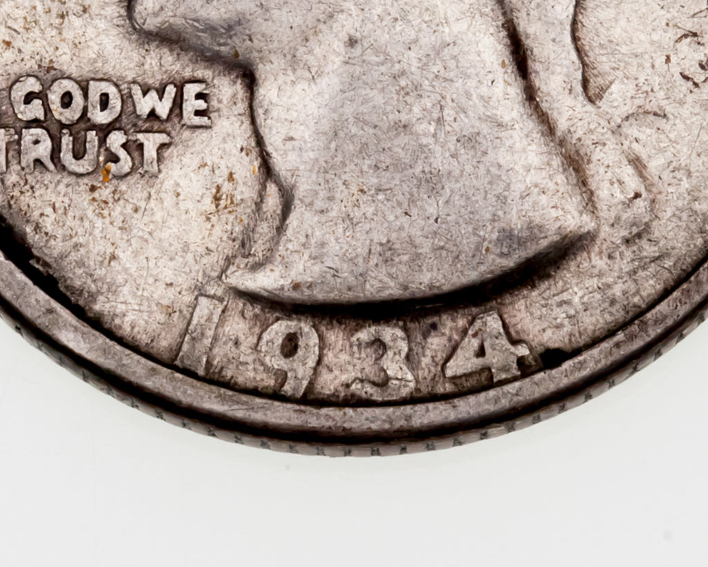 1934 25C Washington Quarter DDO VG Condition (DDO 1-O-I) Natural Color