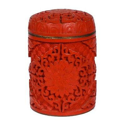 Chinese Antique Tall Cylindrical Cinnabar Trinket Box