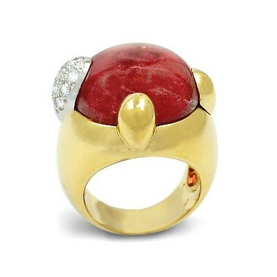 POMELLATO GRIFFE 18KT YELLOW GOLD PINK TOURMALINE AND DIAMOND RING