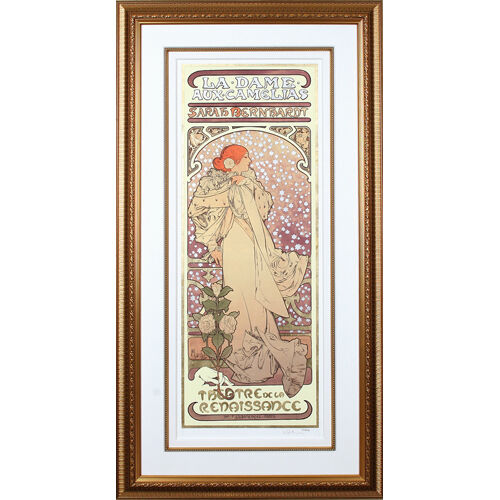 """Lady of Camellias"" by Alphonse Mucha, Signed Giclee LE 304 of 475, 30"" x 58.5"""