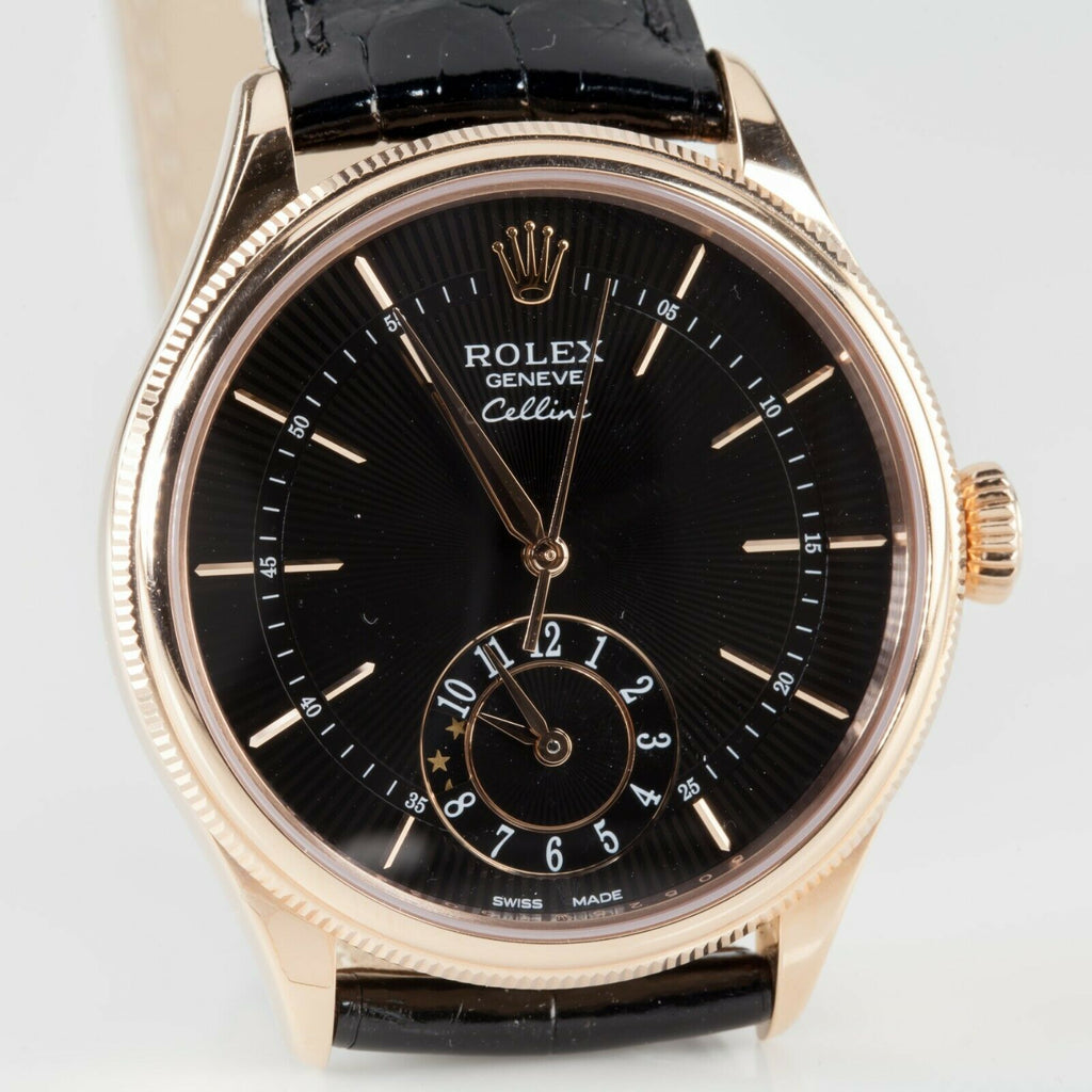 Rolex 18k Ever Rose Gold Dual Time Cellini Men's Watch 50525 w/ Box and Papers
