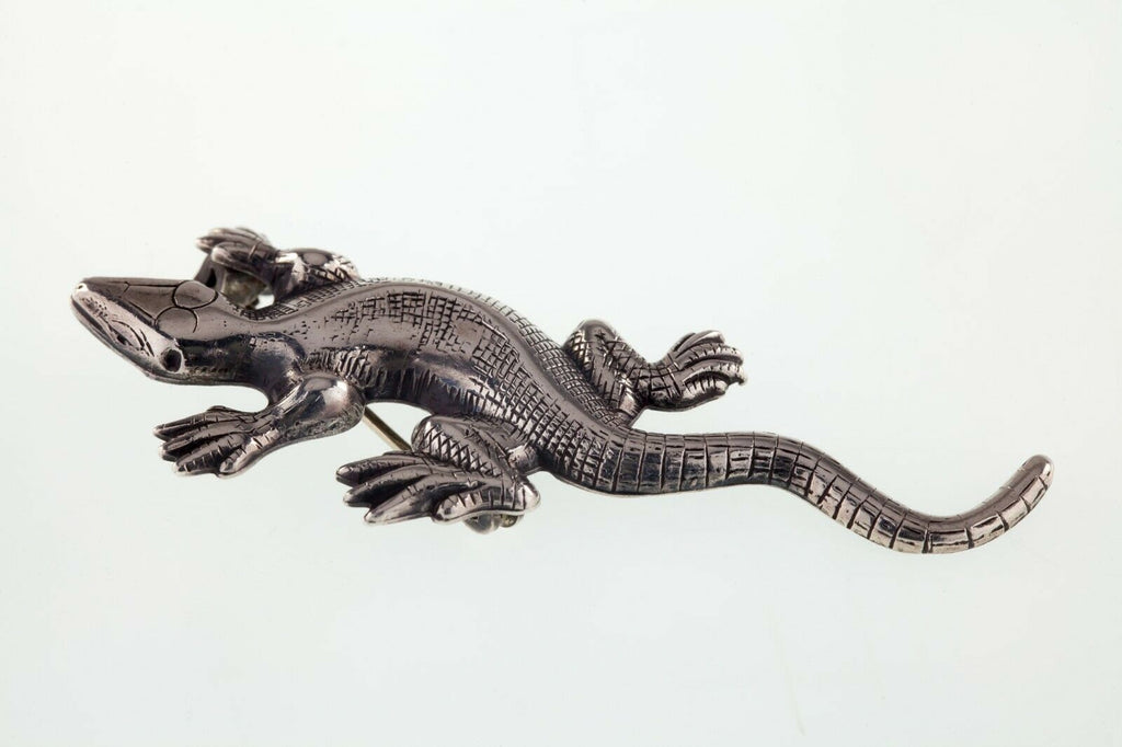 Sterling Lang Silver Lizard Brooch Gorgeous! 58mm Long