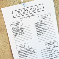 """We DO Have Food at Home"" Family Meal & Snack Cheat Sheet (With Bonus Grocery List Template!)"