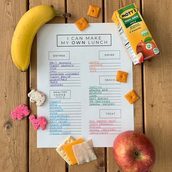 """I Can Make my OWN Lunch"" School Lunch Packing Cheat Sheet"