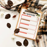 Blended Family Holiday Important Dates Reference Sheet