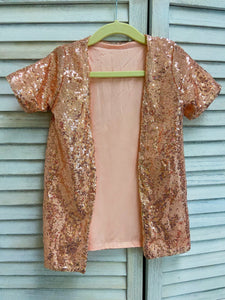 Rose Gold Short Sleeve Duster