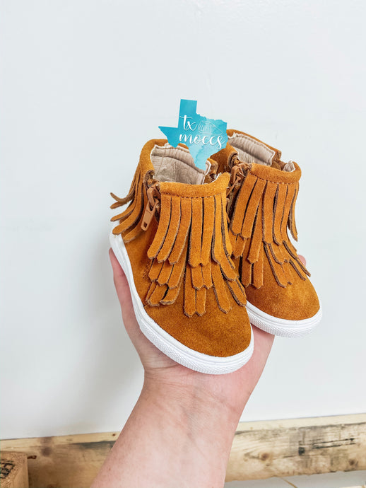 Brown Fringe High Tops - Hard Soles