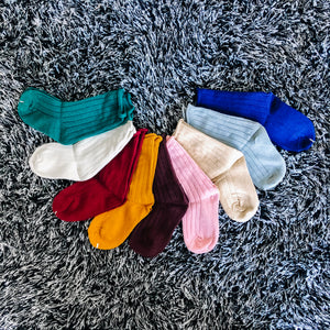 Mid Calf Ribbed Cotton Socks