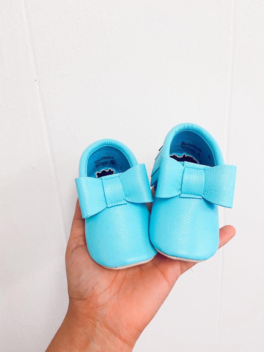 Robin Egg Blue Bow Moccs- STYLE AS PICTURED
