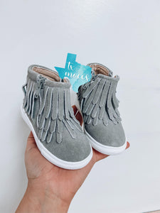 Grey Fringe High Tops - Hard Soles