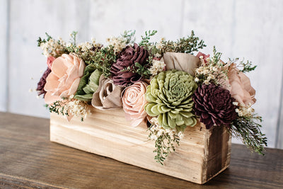Rustic Country Wood Flower Table Decor Floral Mason Jar Centerpiece Southern Blooms Co Llc