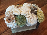 Green and Natural White Small Centerpiece Box