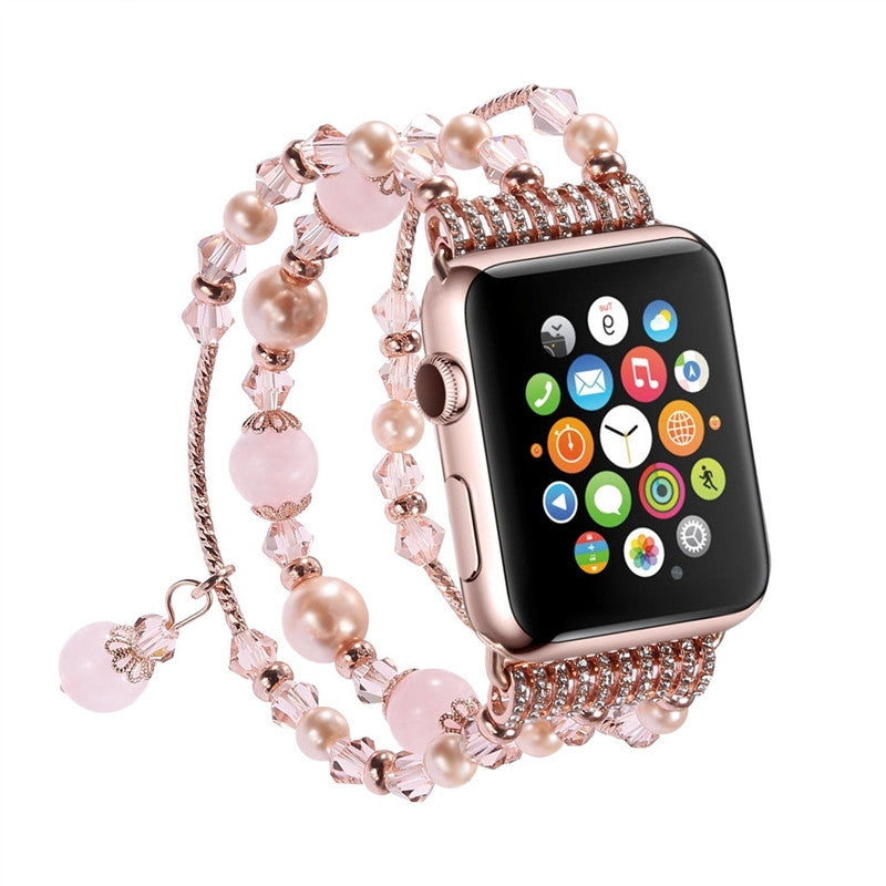 Women Girls Handmade Elastic Stretch Beaded Agate Natural Stone Bracelet Replacement for Apple Watch