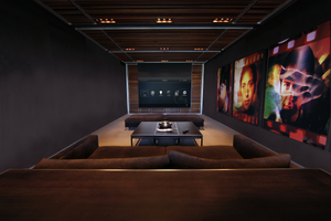 Home theater with automated custom lighting, smart TV, audio, video, music, climate control