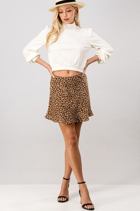 Leopard Silk Skirt