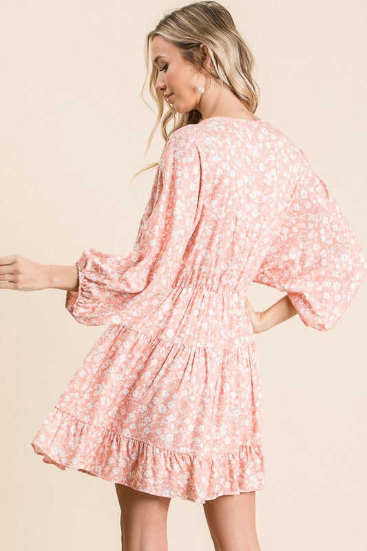 Tiered Floral Mini Dress