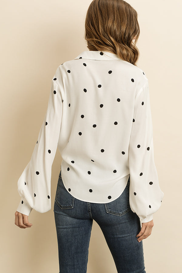 Polka Dot Front Tie Blouse