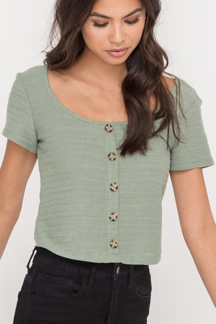 Sage Ribbed Popover Shirt