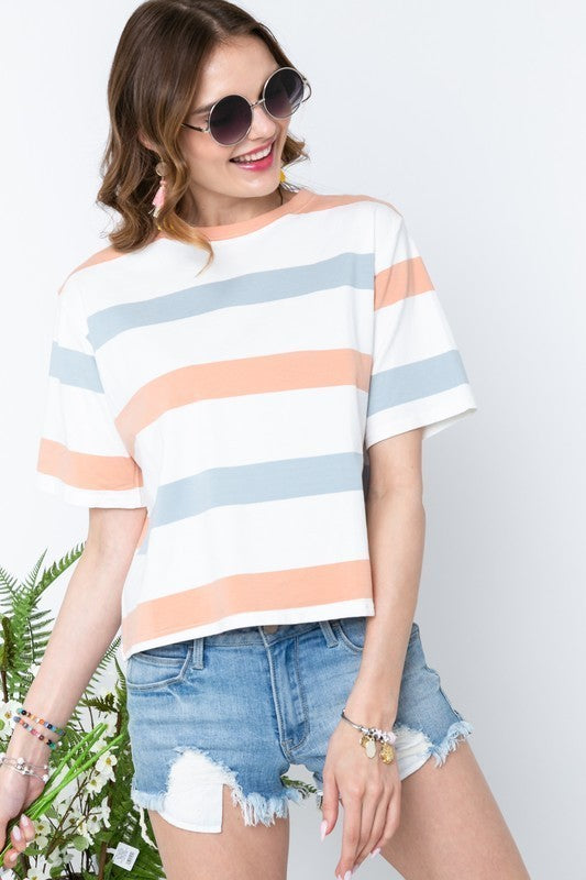 Summer Days Wide Striped Tee