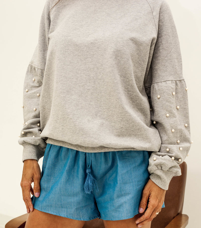 Drop Shoulder Sweatshirt with Pearl Sleeve Detail