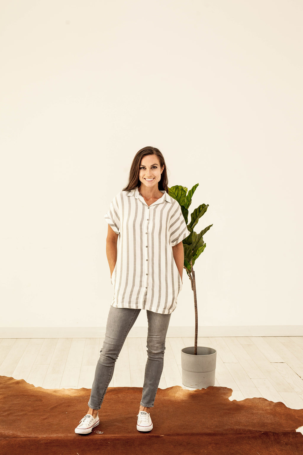 Stripe Button-Down Tunic