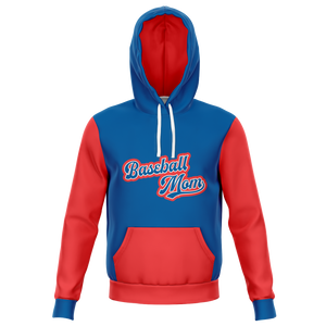 Classic Red Blue Baseball Mom Hoodie