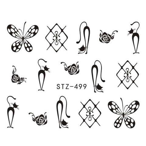 Image of 1 Sheet Black Necklace Jewelry Design Water Transfer Sticker Nail Art Decals