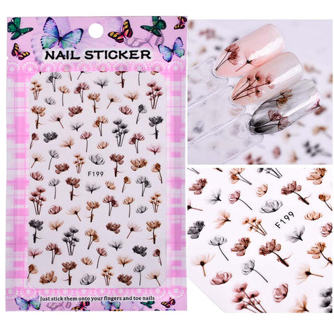 1 Sheet Embossed 3d Nail Stickers Blooming Flower 3d Nail Art