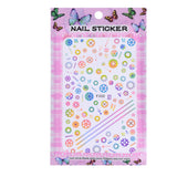 1 Sheet Embossed 3D Nail Stickers Blooming Flower 3D Nail Art Stickers