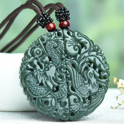 HETIAN Jades Carved Chinese Dragon Phoenix Pendant Necklace