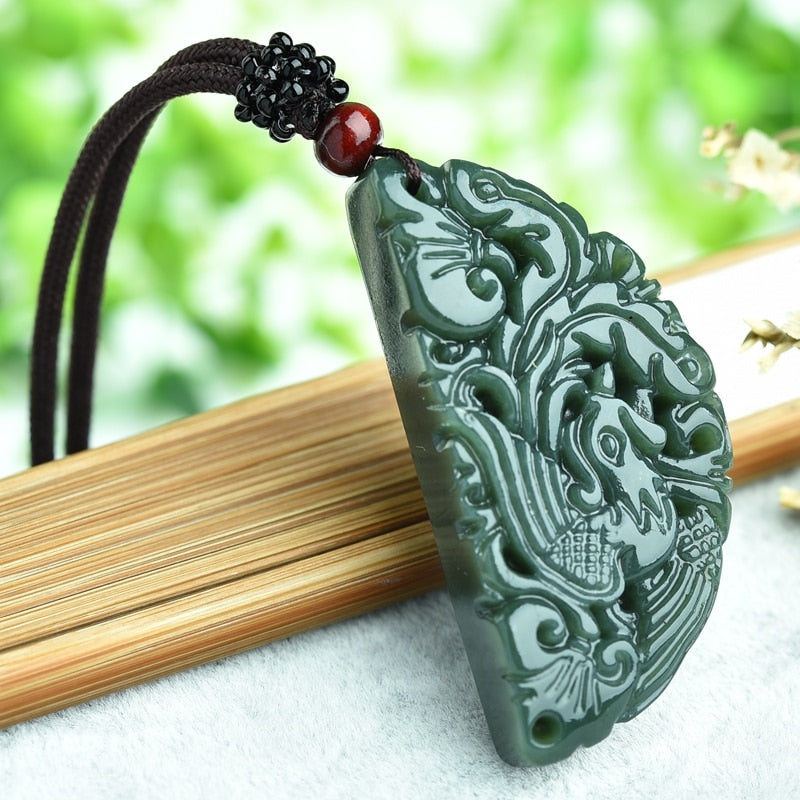 100/% Chinese Fine carved natural jade pendant necklace Dragon