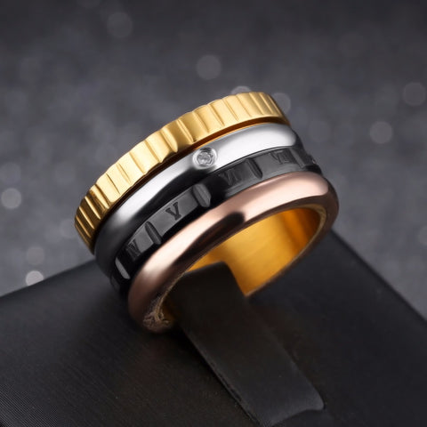 Image of Personalized Spinner Roman Numerals Stacking Rings