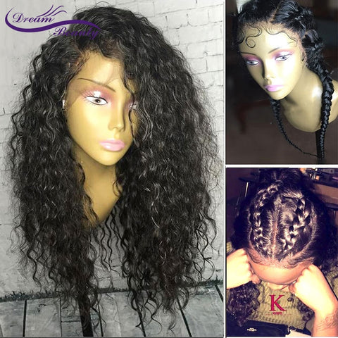 Image of Lace Front Human Hair Curly Wigs Brazilian Remy Hair