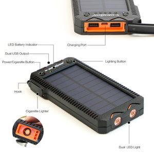 Solar PowerBank External Battery with Electric Cigarette Lighter