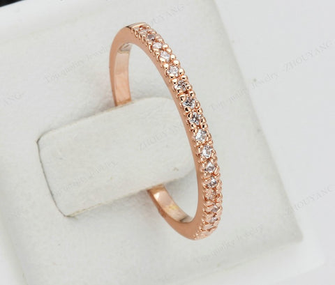 Image of Gold Concise Classical CZ Wedding Ring