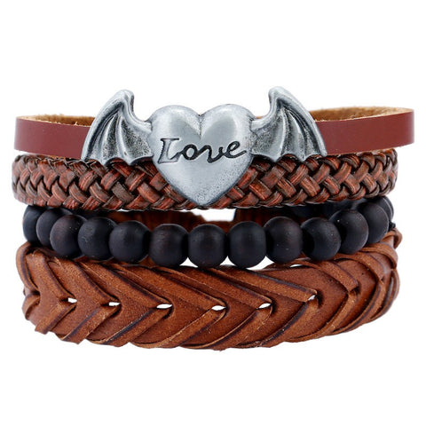 Image of Wing Love Heart Charm Bracelets & Bangles