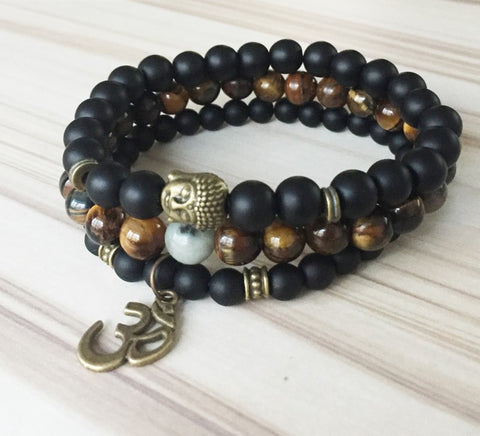 Image of Mala Healing beads Tiger eye Matte Onyx Yoga Bracelet