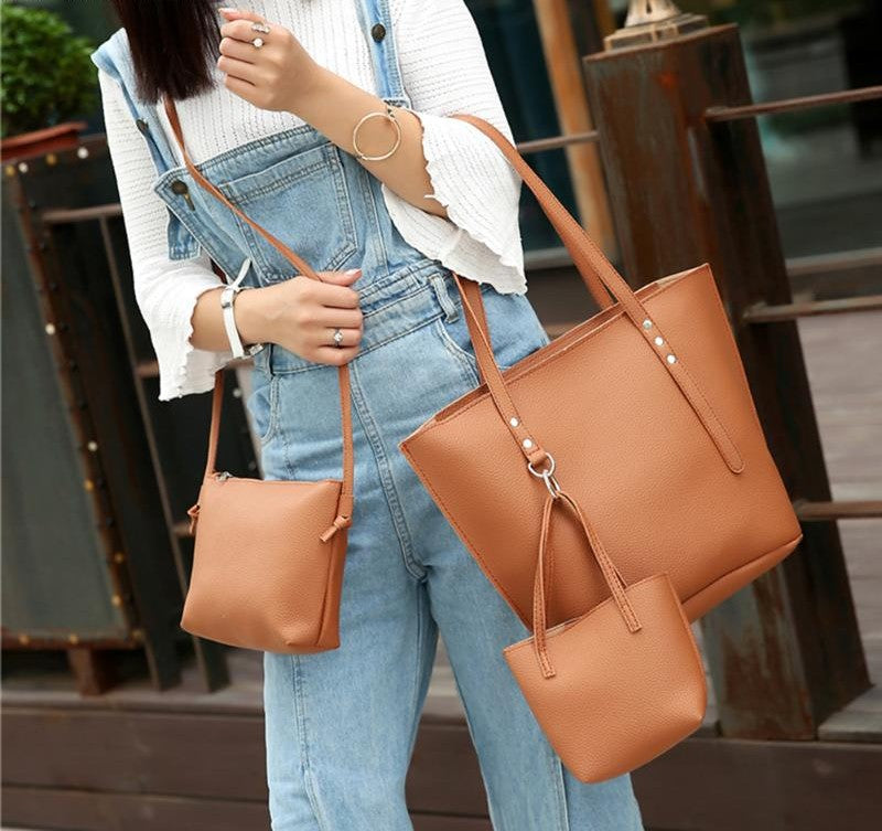 3PCS PU Leather Famous Brand Handbag
