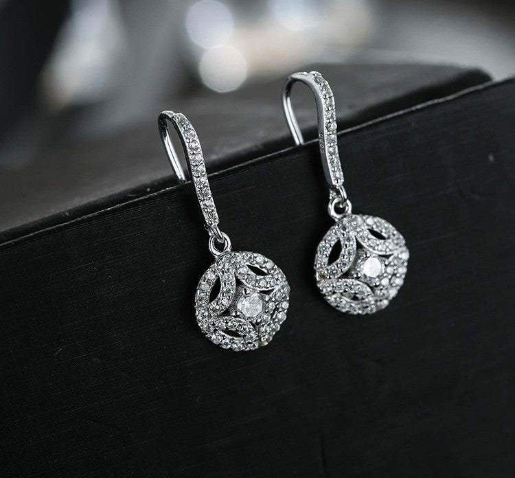 925 Sterling Silver Round With Full Zirconia Crystal Tassel Earrings