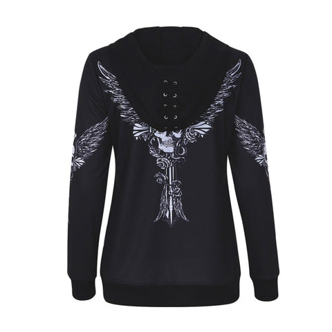 Angel Wing Skull Print Zip Up Casual Lace Up Hooded Top