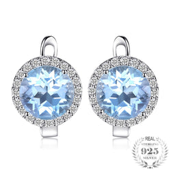 3d104e289 5.4ct Natural Topaz Halo Stud Earrings Genuine 925 Sterling Silver Jewelry